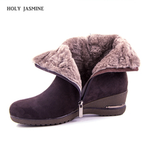 Brand Large Size Full Genuine Leather Ankle Boots Women Boots 2019 New Fur One wool Snow Boots Winter Women Shoes Wedges Boots