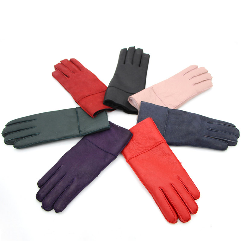 JKP Leather Mittens Ladies Autumn And Winter Gloves Real Sheepskin Fur Warm Gloves Hot Elegant Ladies Full Finger Leather ST-01