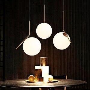 Image 5 - 20cm Modern Glass Ball Pendant Light Fixture Round Iron luminaire Metal Lamp Designer Glass Luster