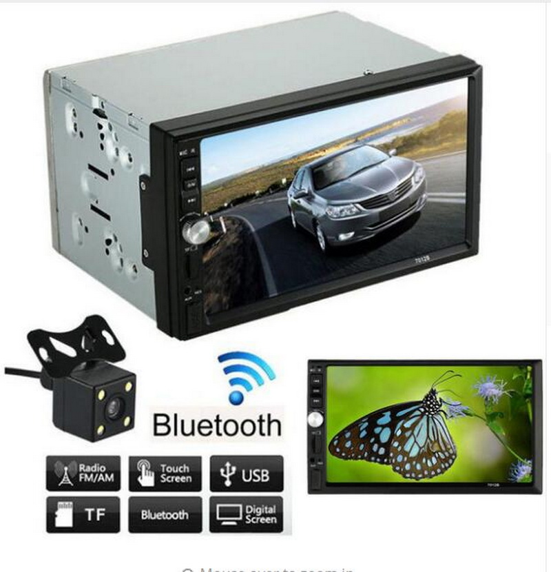 7 inch car radio with rear view camera 2 din stereo for most car Auto Electronics In-Dash Bluetooth MP4 MP5 player