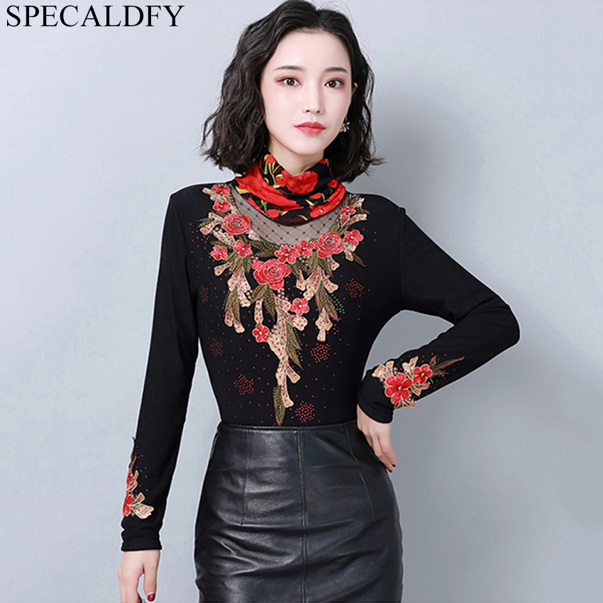 2019 Spring Winter Thick Velvet Lining   Blouse   Womens Tops And   Blouses   Women Sexy Sheer Black Vintage   Blouse     Shirt   Plus Size