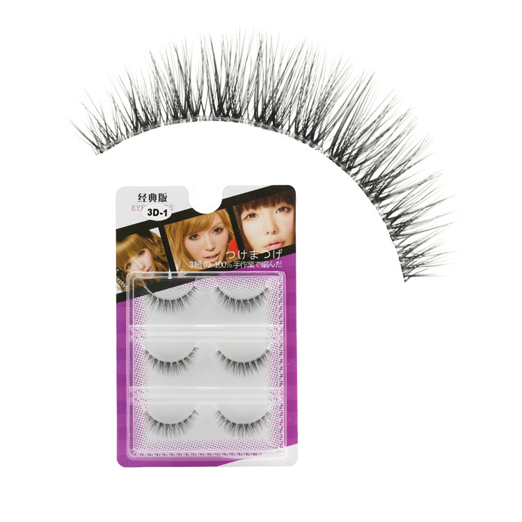 3pairs Lot 3d Sparse Natural Soft False Eyelashes Terrier Cross