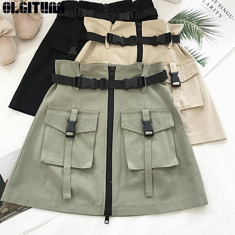 OLGITUM New Summer Women Skirts High Waist Bud Mini Skirt Gothic Punk Style Pocket Buckle Safari Style Skirts Streetwear SK416