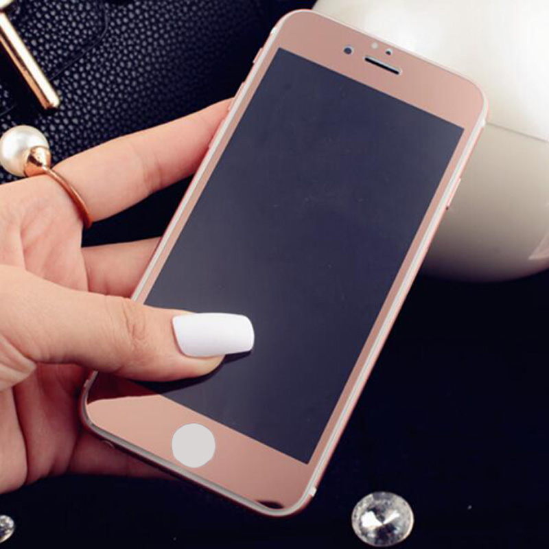 2pcs Front Back Mirror Effect Rose Gold Tempered Glass Screen Protector For IPhone 6 6plus 6S 6Splus Protective Film Case In Protectors From