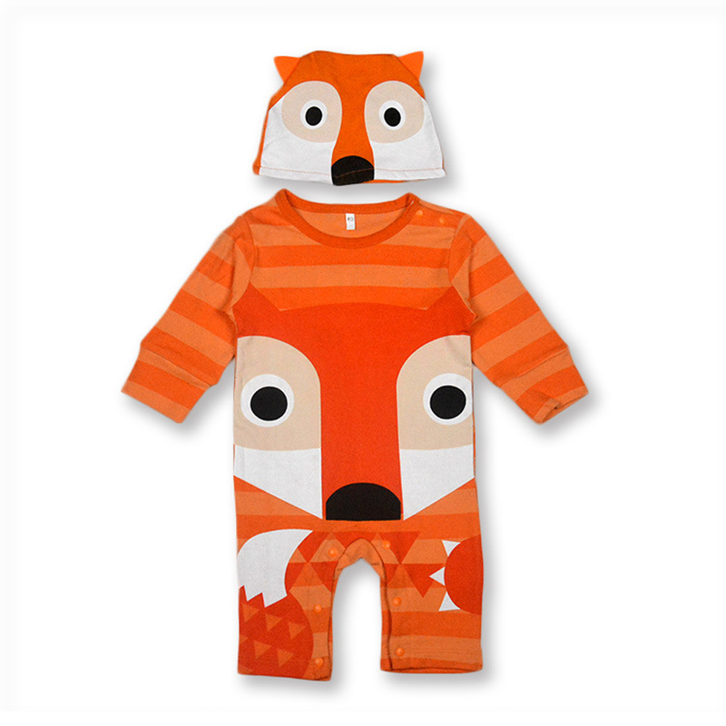 Autumn Cool Baby Boy Girl Clothes Carton Animals Long Sleeve One piece Baby Romper Newborn Clothes Jumpsuit With Hat CL0011 newborn baby boy romper summer sailor jumpsuit one piece outfits infant baby boy girl clothes