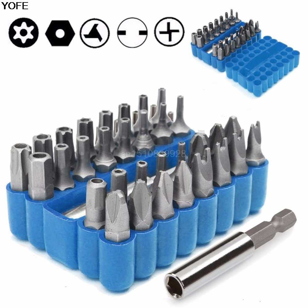 33Pcs Security Tamper Proof Torx Bit Spanner Screwdriver+Star Hex Holder Rod Set
