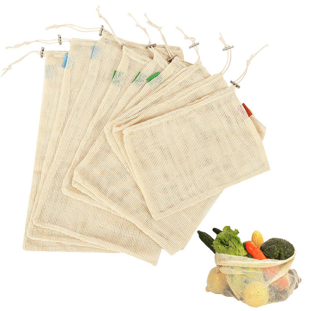 9 stk Cotton Mesh Grønnsaker Lagring Vesker til Kitchen miljøvennlig Frukt Organisasjon veske med Snøring Gjenbruk Vaskba