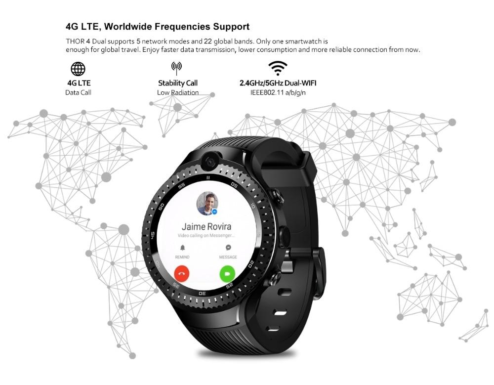 Zeblaze THOR 4 Dual 5.0MP Camera Smart Watch 4G GPS GLONASS Wifi Smartwatches 1GB RAM+16GB ROM Mic Speaker Answer Dial Call 2019 (6)