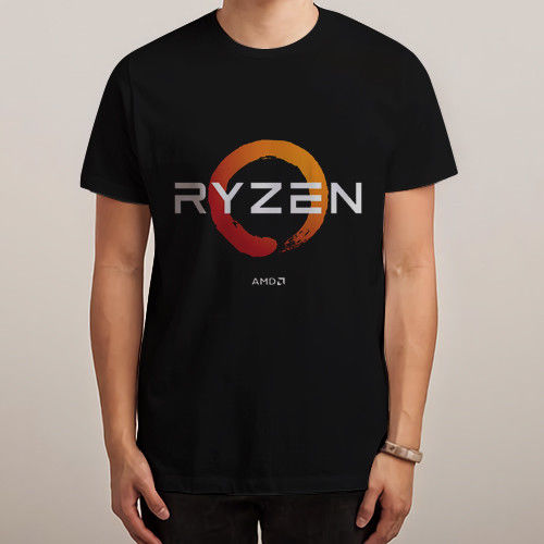 AMD Gaming RYZEN CPU Black T-shirt Shirts Tee S - 3XL Customize Printed Short Sleeve Tees Custom Printed DIY Mens T-Shirt