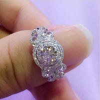 תכשיטי אופנה החדשה פרח ויקטוריה ויק 2ct AAAAA טבעות לנשים כסף סטרלינג 925 זירקון cz טבעת נישואים טבעת נשית