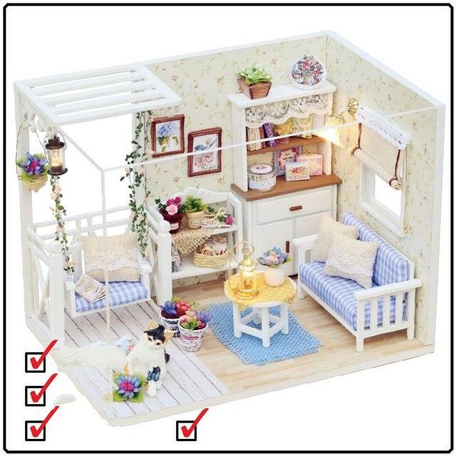 Perabot Rumah Boneka Diy Miniatur Debu Penutup Kayu Puzzle Untuk Anak Ulang