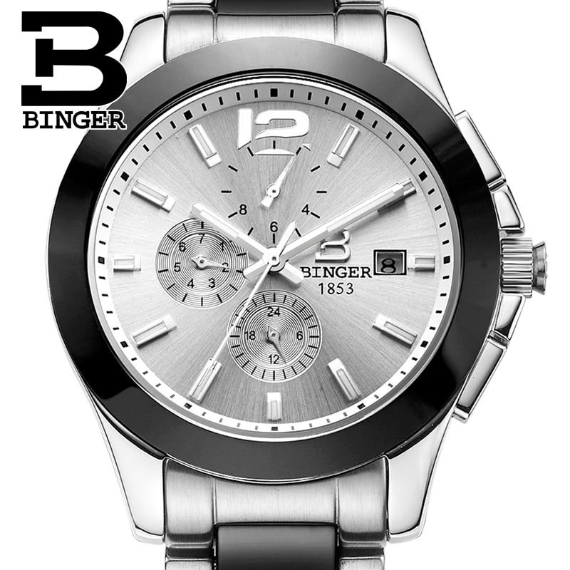 Luxury Brand Mulit function Switzerland Wristwatches BINGER Auto Mechanical Wristwatches Ceramic men s watches waterproof B627