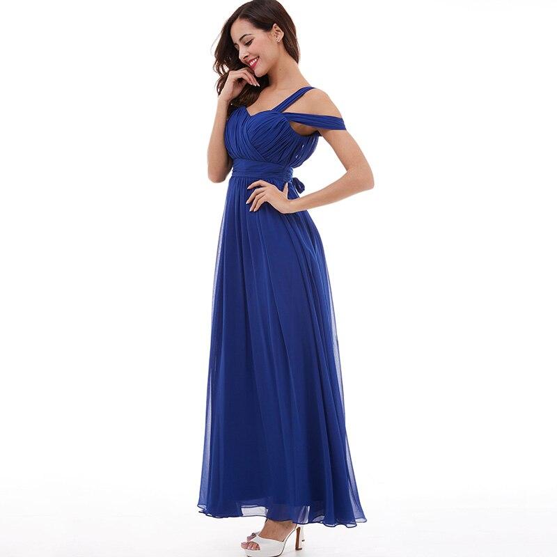 Tanpell banden prom klänning billiga mörk kunglig blå golv längd - Särskilda tillfällen klänningar - Foto 2