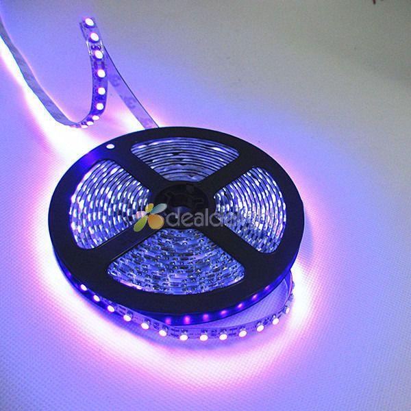 DC12V 5M/Lot 3528 SMD 600 Leds Ultraviolet UV 395-405nm Purple Non-Waterproof Flexible LED Strip Light Free Shipping