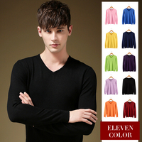 Solid Color Pullover Men Sweater High Quality Men Famous Brand V Neck Sweaters Casual Homme Slim