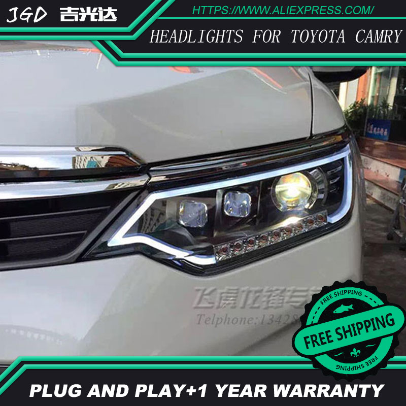 Free shipping Car styling LED HID Rio LED headlights Head Lamp case for Toyota Camry 2015 2016 Bi-Xenon Lens low beam special car trunk mats for toyota all models corolla camry rav4 auris prius yalis avensis 2014 accessories car styling auto