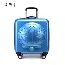 Новые детские Doraemon мультфильм багаж 3D машина кошка багаж ролики чемодан на колесиках