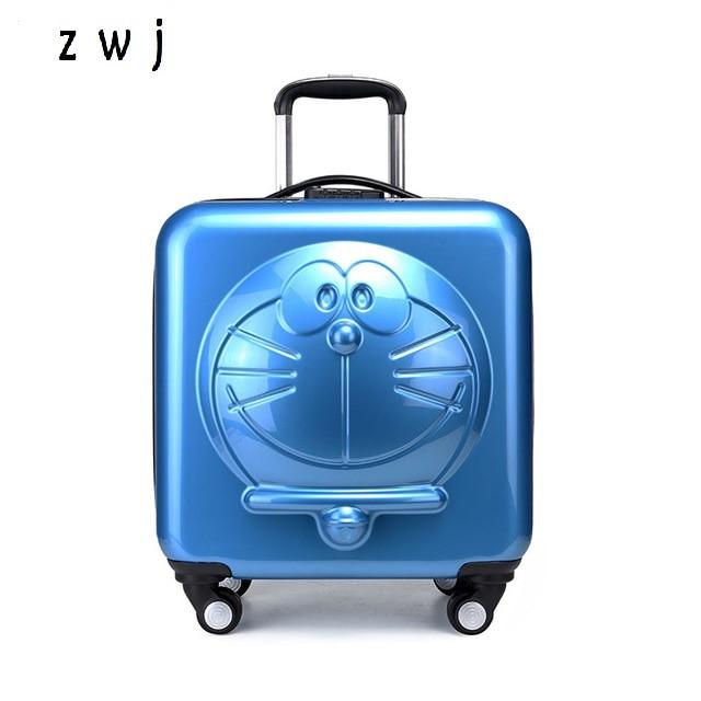 Nowe dzieci Doraemon Cartoon bagaż 3D maszyna kot bagażu toczenia kółka na kółkach na kółkach walizka torba w Walizka na kółkach od Bagaże i torby na  Grupa 1