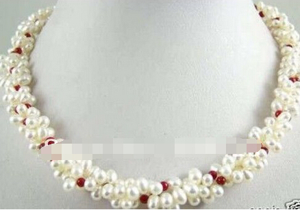 Free shipping >>@ 1566 White Freshwater Pearl Coral 3 Rows Twist Necklace