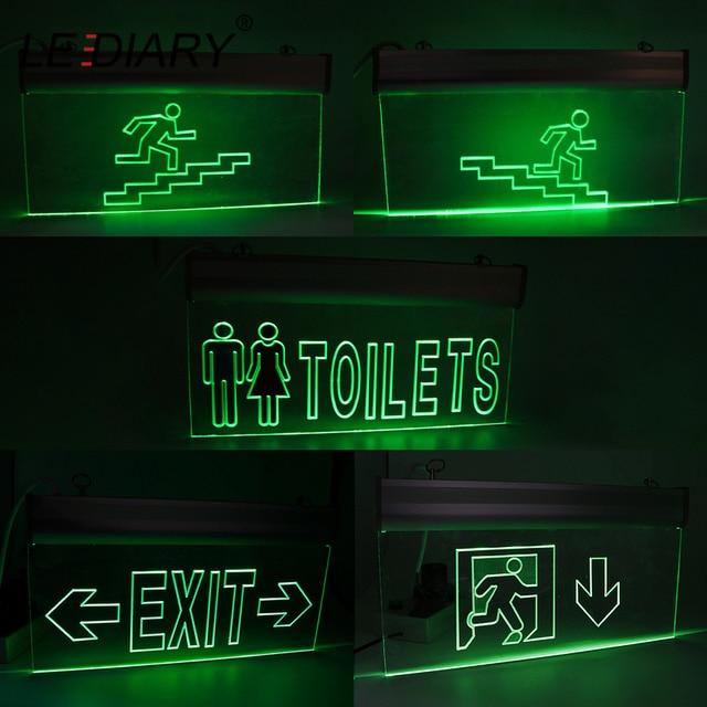 LEDIARY Acrílico LEVOU Fogo Luz De Emergência Duplo-face Seguro de Acesso de Saída 220V AC 2W Luzes de Seta Verde para baixo Lâmpada de Parede de Emergência