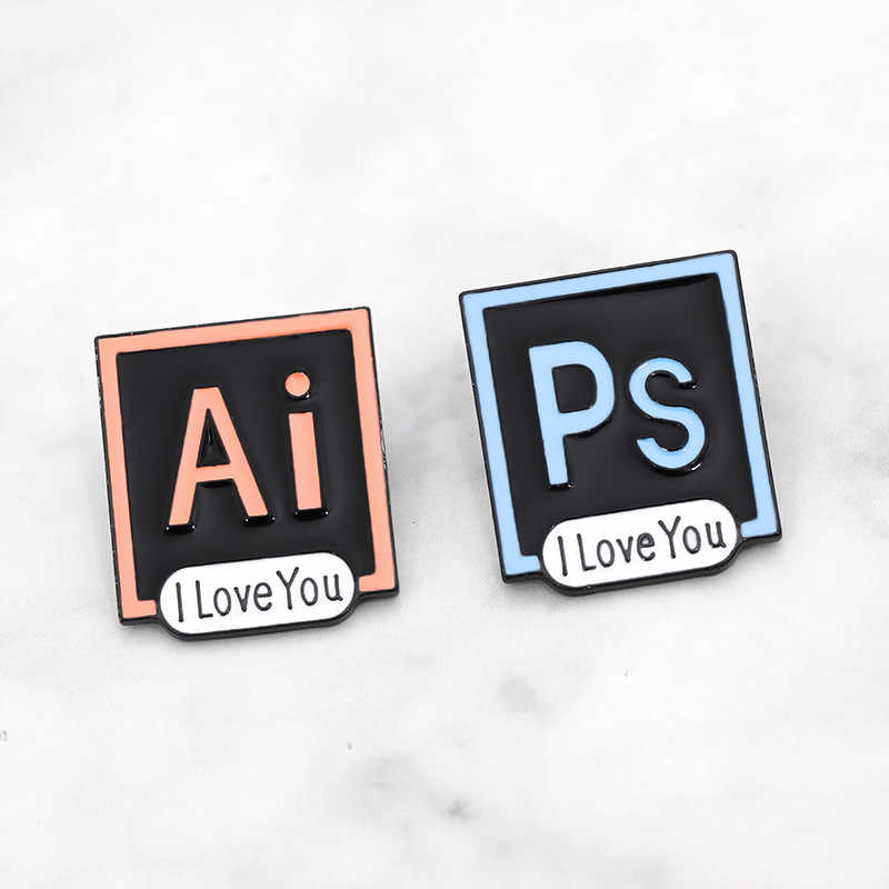 Pin esmalte PS AI I Love You Photoshop Illustrator insignias personalizado Pastel broches camisa de mezclilla solapa Pin diseñador joyería regalo