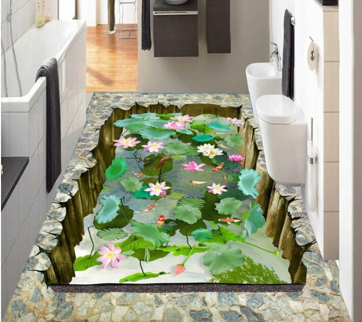 3 D Pvc Flooring Custom Waterproof Self Adhesion 3 D Lotus Lotus Pond Floor 3 D Bathroom Flooring Photo Wallpaper For Walls 3d Comfortable And Easy To Wear