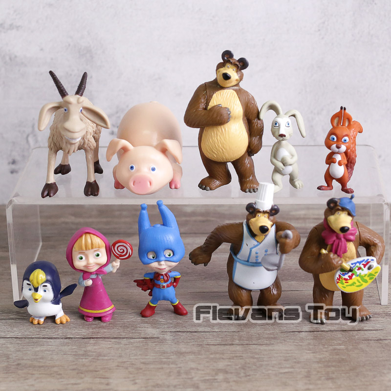 Cartoon Masha & Bear PVC Action Figures Painter Snow Maiden Dolls Figurines Kids Toys Gift 10pcs/set cartoon masha