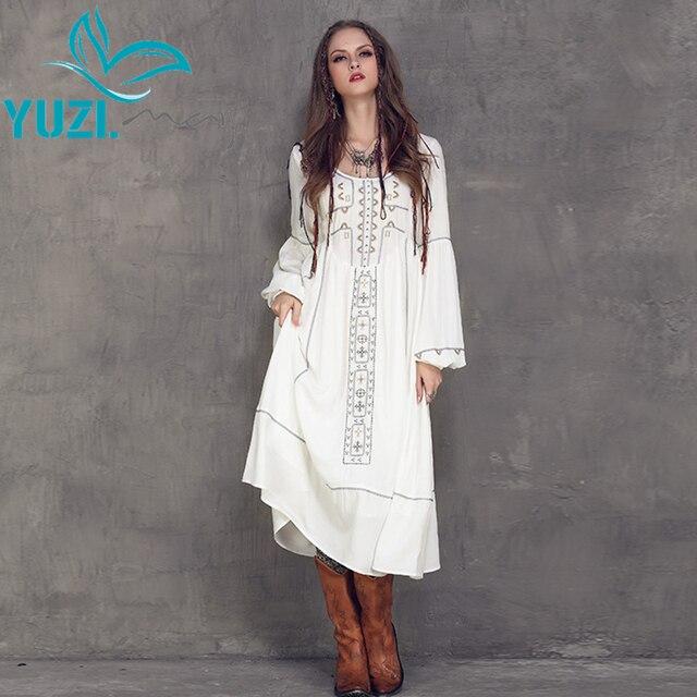 Women Dress 2017 Yuzi Весной Новые Случайные Хлопка Белье Платья О-Образным Вырезом Высокой Талией Фонарь Рукавом Платье A8107 Vestidos Femininos