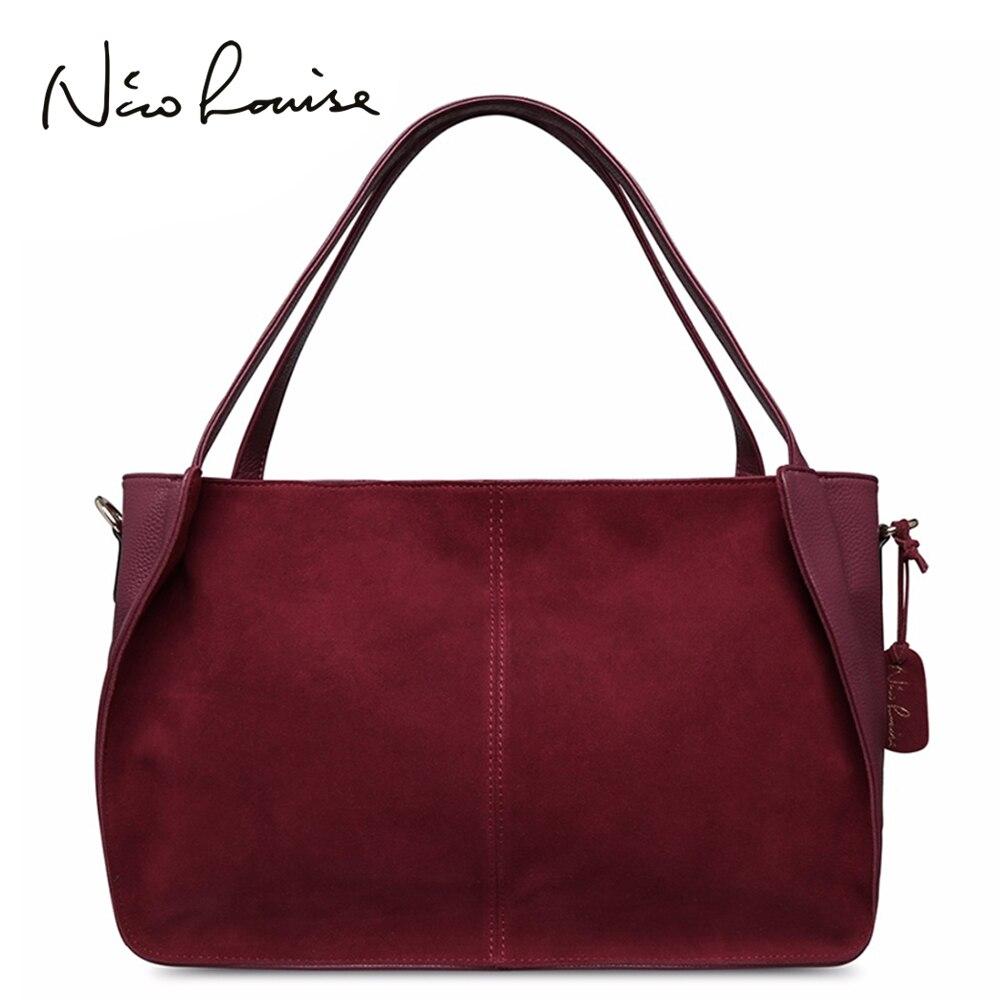 Nico Louise kobiety prawdziwe podział zamszu torba na drobiazgi stałe rozrywka duża góry torby z uchwytami dama dorywczo Crossbody torebka na ramię w Torebki na ramię od Bagaże i torby na  Grupa 1