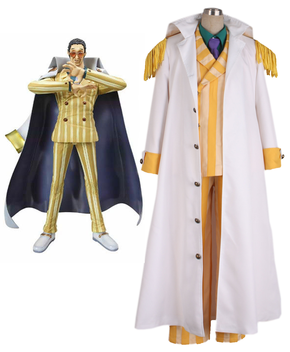 Japanese Hot Anime ONE PIECE cosplay Borsalino cos Halloween party man costume (cloak+coat+shirt+tie+pants)