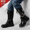 Cuero repujado de Metal Decoración Punk Zapatos Versión Coreana de La Correa Militar de Los Hombres Cadenas Botas de Tacón Bajo Funky Gótico Negro Térmica