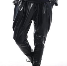 Stage personality high quality men leather pants harlan pant feet trousers singer dance rock fashion pantalon homme black