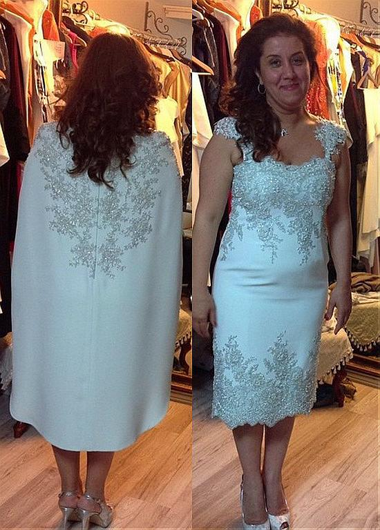 Out-standing Acetate Satin Bateau Neckline Tea-length Sheath/Column Mother Of The Bride Dresses With Beaded Lace Appliques