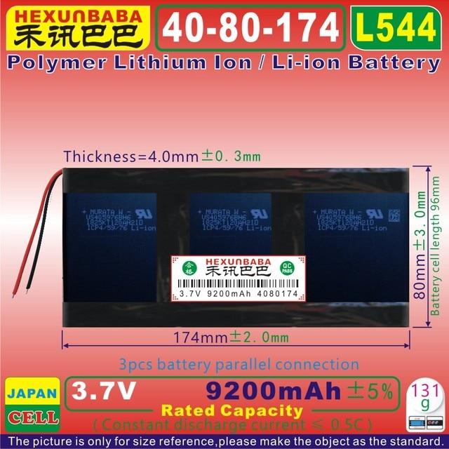 [L544] 3.7 V 9200 mAh [4080174] Polymer lithium ion/Li-Ion pin cho PIPO M9 pro 3g/max M9 quad core tablet pc (SONY DI ĐỘNG)