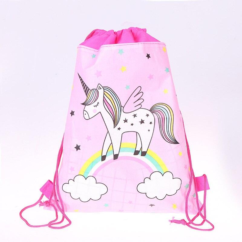 12pcs Unicorn Drawstring Bag For Girls Travel Storage Package Cartoon School Backpacks Children Birthday Party Favors