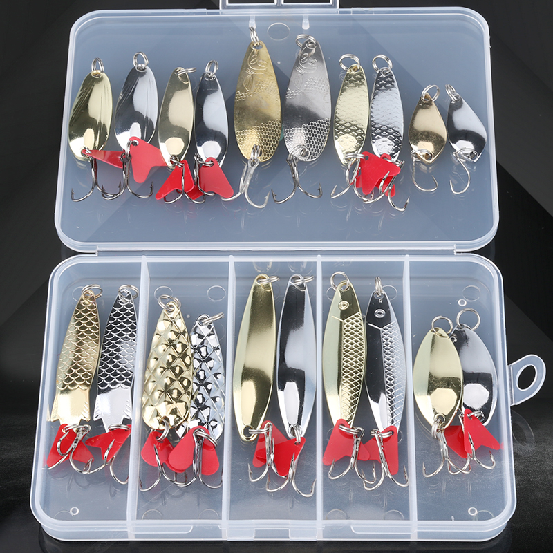 Mixed Colors Fishing Lures Spoon Bait Set Metal Lure Kit Sequins DD Fishing Lures With Box Treble Hooks Fishing Tackle Hard Bait