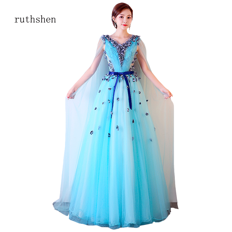 ruthshen Long   Prom     Dresses   2019   Dresses   with Cape Light Blue V Neck Party Gowns Wedding Guest Elegant Sexy Gala Jurk 3D Flower