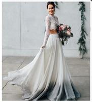 a12509e0f1 Long Sleeves Wedding Dress 2 Pieces Elegant Wedding Gowns 2019 Simple  Elegant Bridal Gown