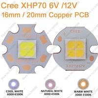 Cree XHP70 28 8W 6V 12V High Power LED Emitter Chip 20mm Copper Base 6500K Cool