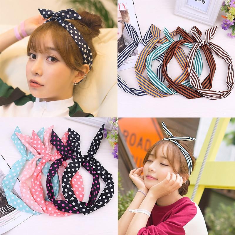Rabbit Ear Striped Korean Bowknots 1PC Sweet Hair Accessories Dots Cute Band