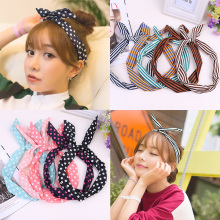 Rabbit Ear Striped Korean Bowknots 1PC Sweet Hair Accessories Dots Cute Band