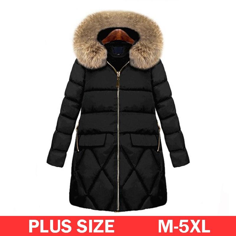 M 5XL Plus Size Fur Hooded Parkas Coat Women Winter Warm Long Down Jacket 2017 Simple