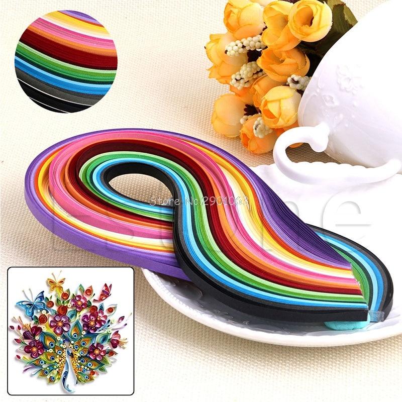 1000pcs 50 Colors Quilling Paper Strips Set for DIY Hand Craft Arts Width 5mm Length 54cm