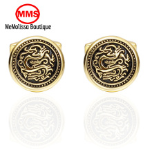 MeMolissa Personalized Cufflinks Golden Dragon Cuff Links for Mens Gifts Dad Customized Cuff Buttons Wedding Favors
