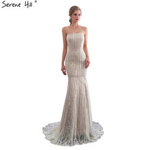 SERENE HILL Champagne Lace Mermaid Evening Dresses 2019
