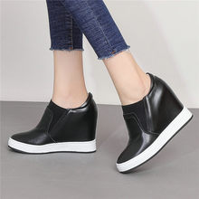 Platform Oxofrds Women Slip On Trainers Cow Leather Wedges High Heel Evening Pumps Shoes Low Top Punk Tennis Casual