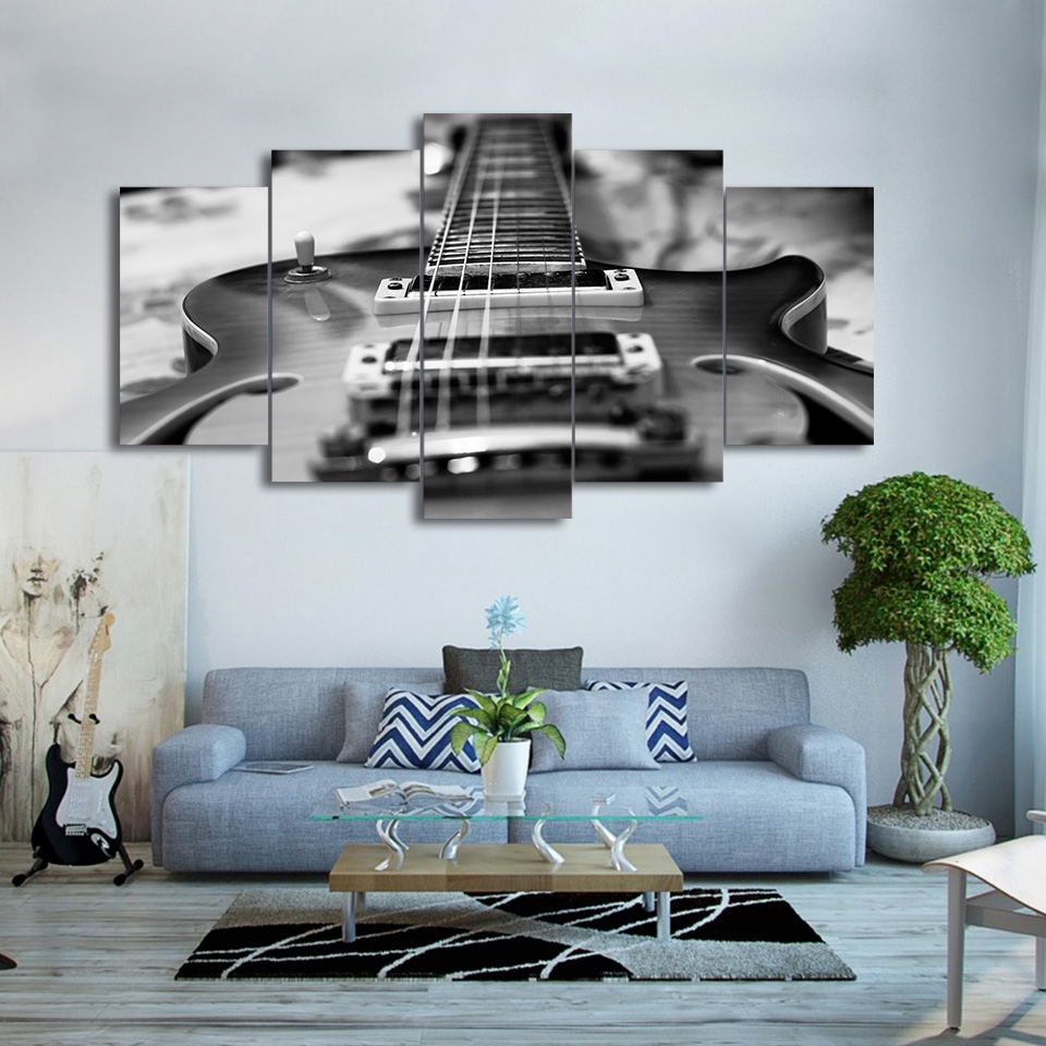 5 panel guitar vintage black and white modular picture wall artwork home decor in painting. Black Bedroom Furniture Sets. Home Design Ideas