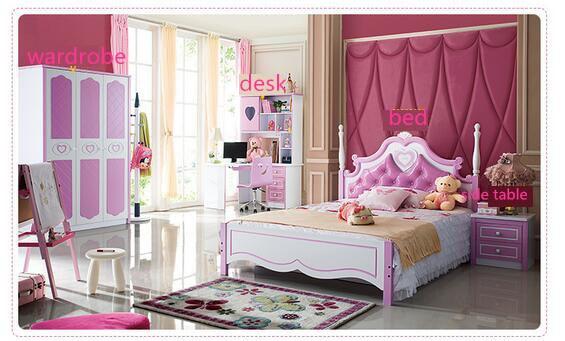 Kids Bedroom Furnitures Sets Bed Bedside Table Wardrobe Desk Table Children Girls Princess Solid