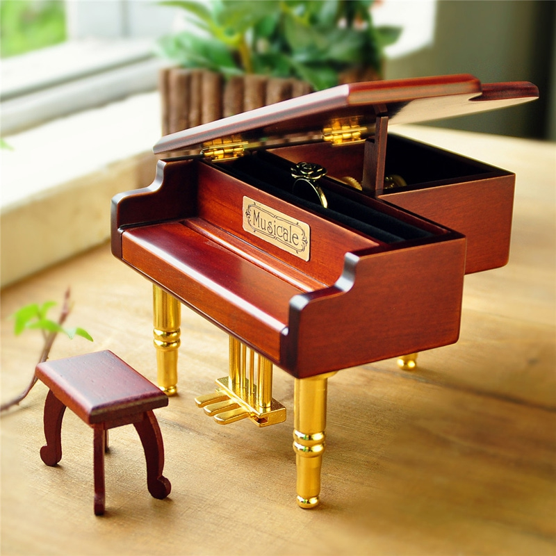 Diy unbarked wood piano music box for Christmas new year wedding and birthday gift male romantic free shipping