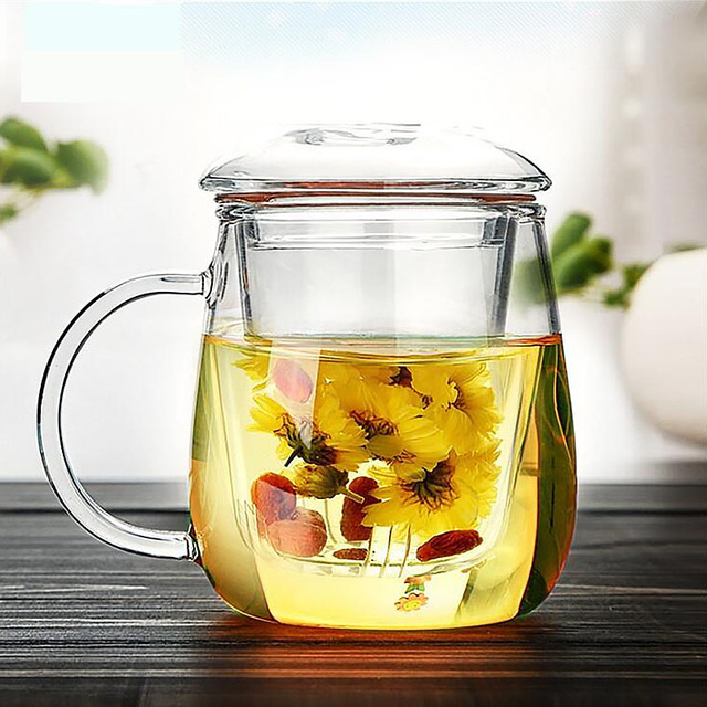 Handmade Glass Small Teapot with Tea Filter Simple Morning Mugs with Handle Scented Cup 500ml SH123